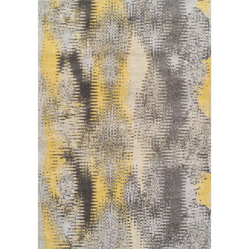 8 X 11 Large Yellow And Gray Area Rug Modern Grays