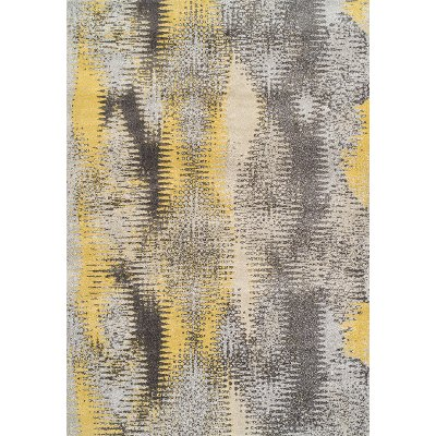 10 X 13 Large Yellow And Gray Area Rug Modern Grays