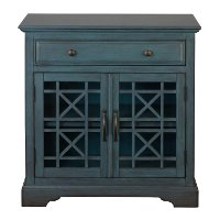 Antique Blue 2 Door and 1 Drawer Accent Cabinet