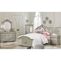 Clearance Traditional Silver 5 Piece Twin Bedroom Set   Jessica