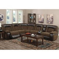 Brown 6 Piece Manual Reclining Sectional - Helen