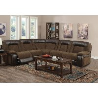 Brown 5 Piece Manual Reclining Sectional - Helen