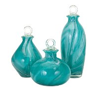 9 Inch Turquoise Glass Bottle with Stopper