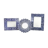 8 Inch Blue and White Ceramic Picture Frame