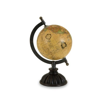 Wood, Iron And Brass Colony Table Top Globe