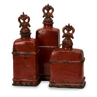 14 Inch Garnet Red Bottle with Finial