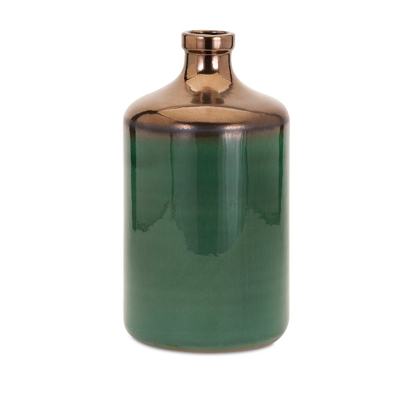 14 Inch Green And Bronze Vase Rc Willey Furniture Store