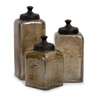 8 Inch Square Brown Canister
