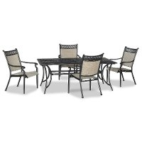 5 Piece Bronze and Tan Patio Dining Set - Manhatten