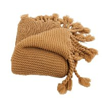 Camel Brown Sweater-Knit Throw