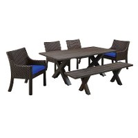 5 Piece Cast Wood Patio Dining Set with Sunbrella Cushion