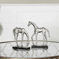 Assorted Polished Aluminum Let's Graze Horse Sculpture