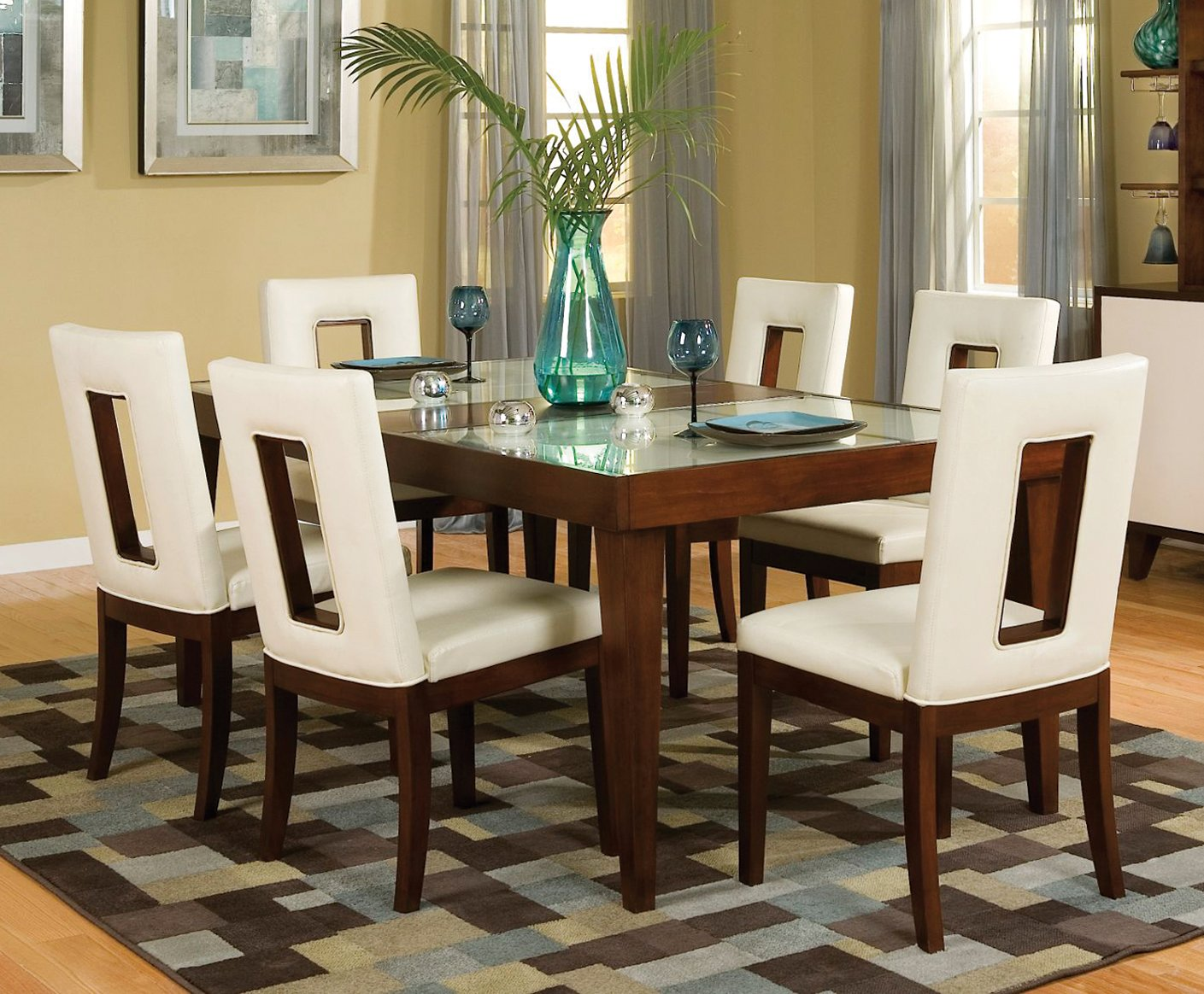 Cherry 5 piece dining set enzo rc willey furniture store for Cherry dining room chairs