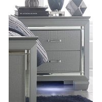 Allura Gray Nightstand with LED Lighting