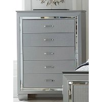 Contemporary Silver and Gray Chest of Drawers - Allura