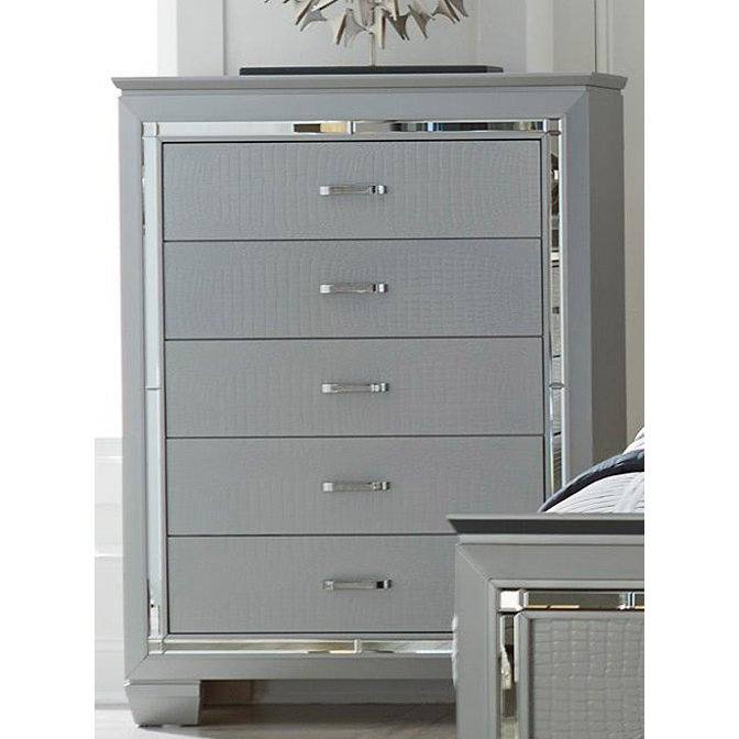 Contemporary Silver And Gray Chest Of Drawers Allura