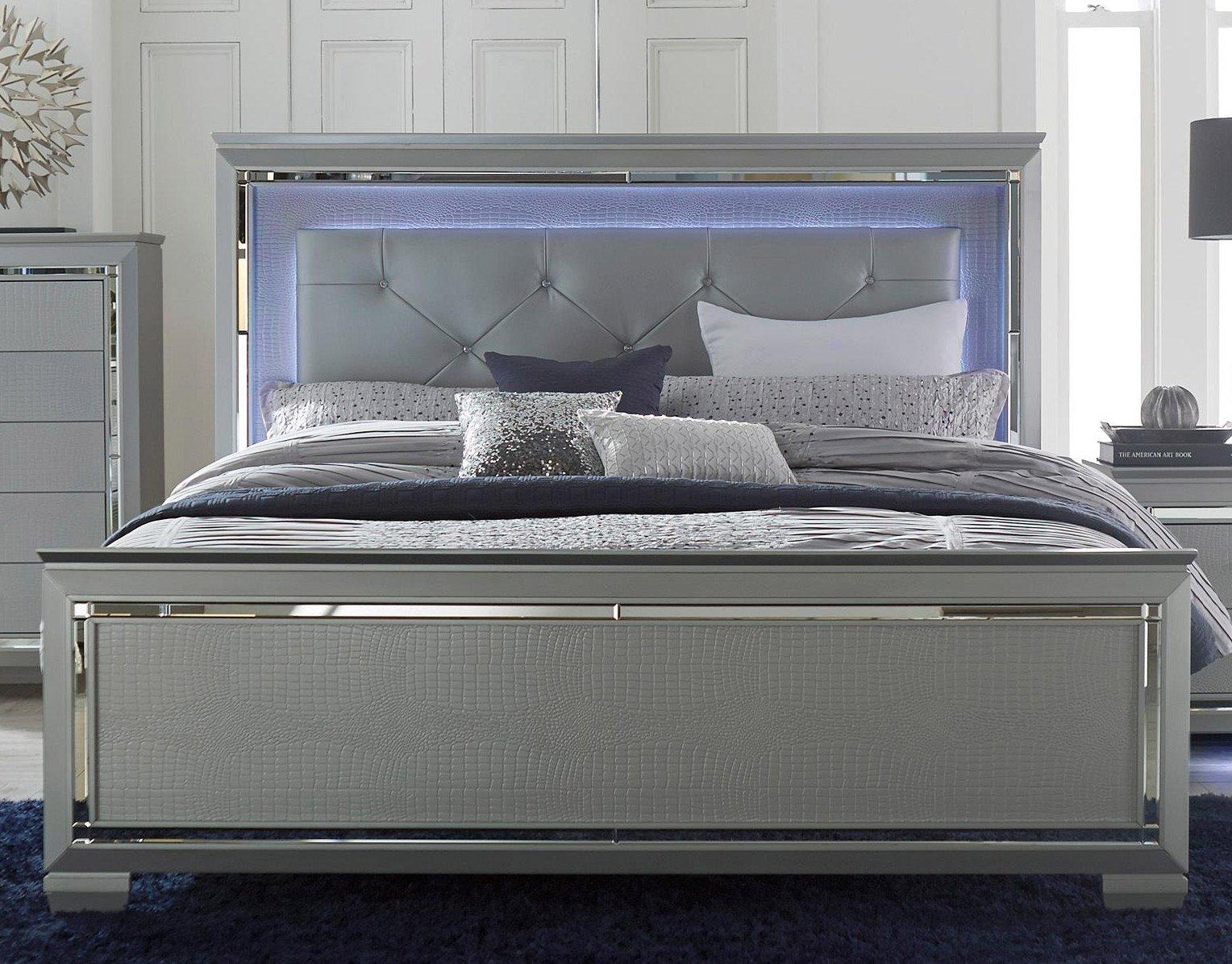 Gray queen size bed : Gray piece queen bedroom set allura rc willey