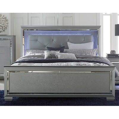 Gray California King Panel Bed - Allura