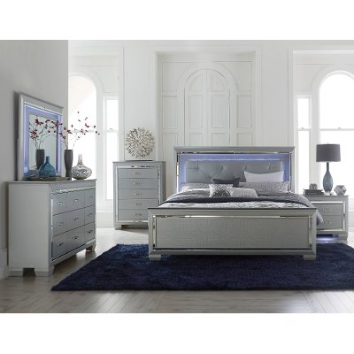 Gray 6 Piece Cal King Bedroom Set Allura RC Willey Furniture Store