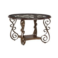 Cherry and Metal Round Dining Table - Bombay Collection