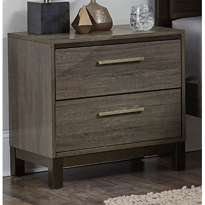 Gray & Black Contemporary Nightstand Oxon