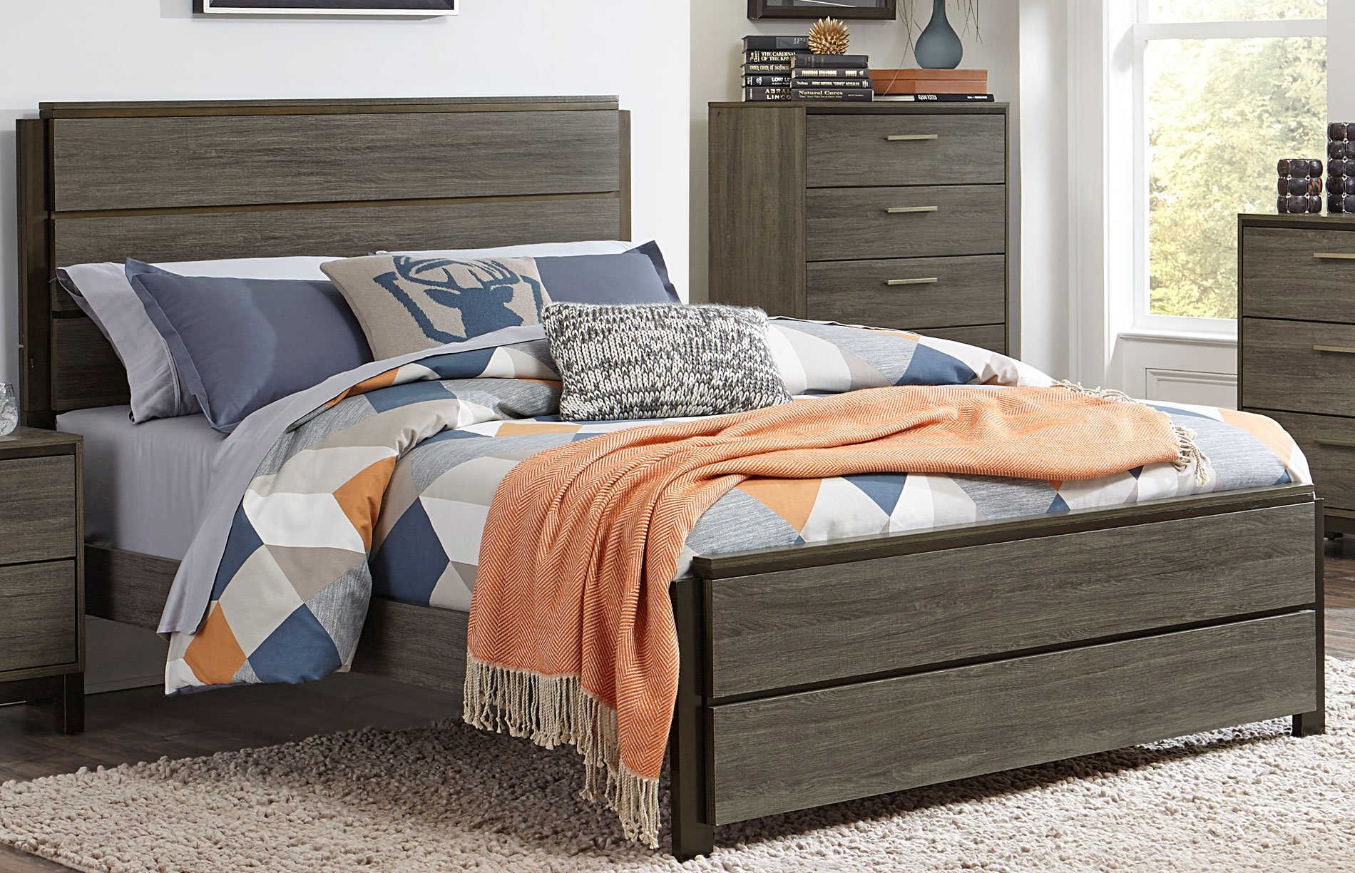 Gray U0026 Black Contemporary King Size Bed   Oxon