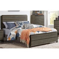 Gray & Black Contemporary King Size Bed - Oxon