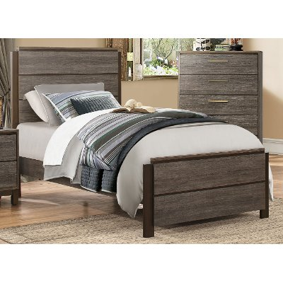Great Gray u Black Contemporary Twin Bed Oxon