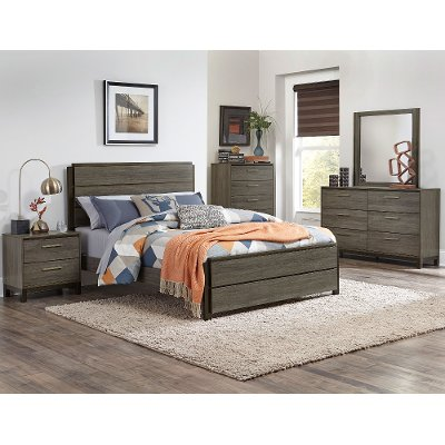 King Bedroom Sets Black gray & black contemporary 6 piece king bedroom set - oxon | rc