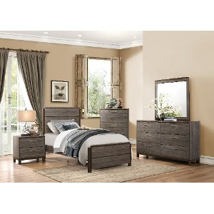 black twin bedroom set.  Contemporary Gray Black 6 Piece Twin Bedroom Set Oxon bed with storage RC Willey Furniture Store