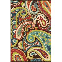 5 x 8 Medium Brown, Turquoise & Red Area Rug - Paisley