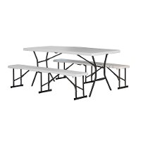 80348 Lifetime 6 Foot Fold-in-Half Recreation Table Set White