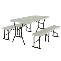 80502 Lifetime 5 Foot Fold-in-Half Recreation Table Set White