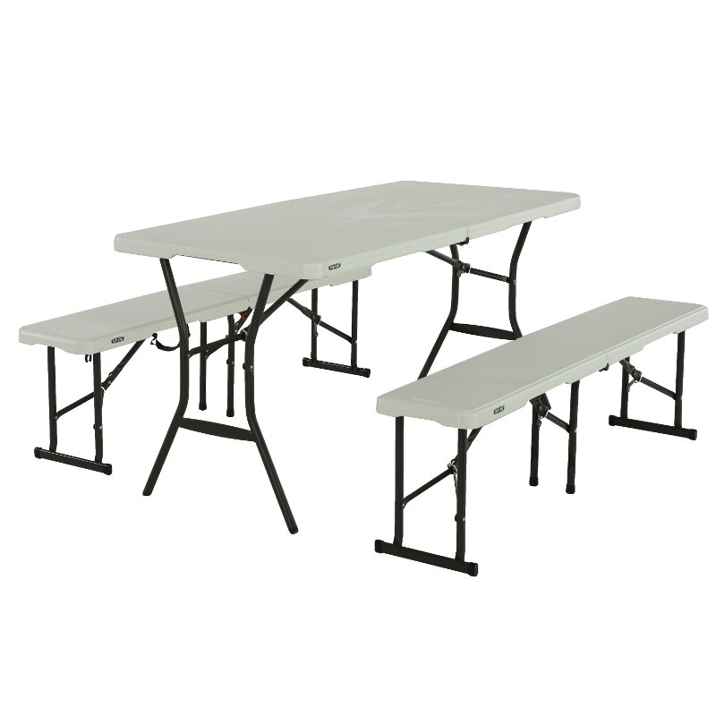 Lifetime 5 Foot Fold-in-Half Recreation Table Set White