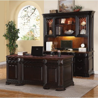 Two Tone Executive Wood Office Desk - Eastchester