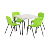 80500 Lifetime Almond Kids Table & Lime Green Chairs (Set of 4)