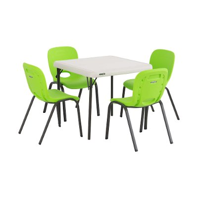 80500 Lifetime Almond Kids Table \u0026 Lime Green Chairs (Set of 4)  sc 1 st  RC Willey : kids table and 4 chairs set - pezcame.com