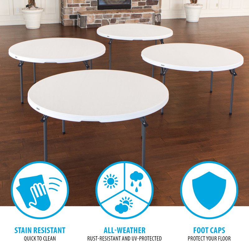 Lifetime 5 Foot Round White Banquet Table