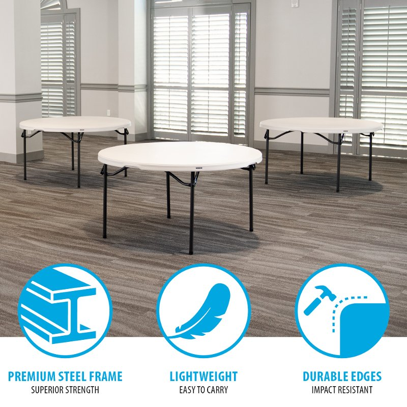 Lifetime 5 Foot Stacking Round Tables 4 Pack Almond