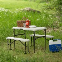 80373 Lifetime 42 Inch Recreation Table Set Almond