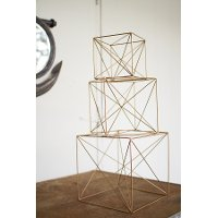 6 Inch Gold Antique Wire Cube