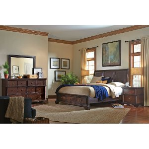 bancroft java brown 6piece california king bed traditional bedroom set - California King Beds