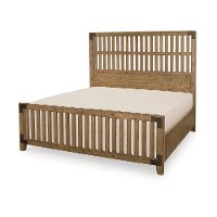 Metalworks Oak Rustic Industrial Queen Slat Bed