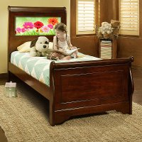 20402 Edgewood Cherry LightHeaded Twin Sleigh Bed with Trundle
