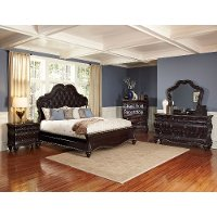 Black Cherry Traditional 6 Piece King Bedroom Set - Palisades
