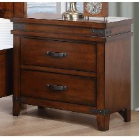 Caramel Brown Classic 2-Drawer Nightstand - Saratoga