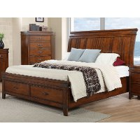 Caramel Brown Classic Queen Sleigh Bed - Saratoga