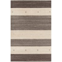 5 x 8 Medium Wide Striped Brown and Beige Area Rug - Elantra