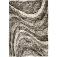 5 x 8 Medium Contemporary Taupe and Ivory Area Rug - Flemish