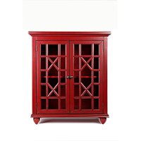 Red 2 Glass Door Accent Chest - Brighton Park